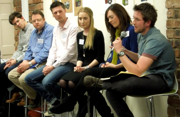 Members of the 'industry panel' (L-R) James Vincent, Fraser Hannah, Leo White, Helen Statham, Sara Gadd, Craig Charters.