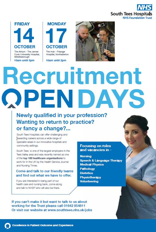 Uocnurses South Tees Hospital Recruitment Open Days